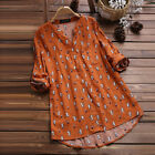 Womens Cat Print 3 4 Sleeve T Shirts Blouse Ladies Tunic Loose Tops Plus Size LM