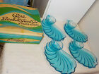 VINTAGE HAZEL ATLAS CAPRI SEASHELL SNACK SET 4 TRAYS 4 CUPS ORIGINAL BOX