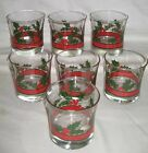 #50 (7) Libbey Double Old Fashioned On The Rocks Holly Berry Red Band Glasses