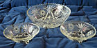 Anchor Hocking American Prescut STAR OF DAVID Lg Serving BOWL + FOOTED Bowls EUC
