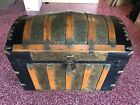 Beautiful Antique Victorian Dome Top Steamer Trunk Stagecoach Chest