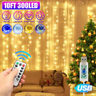 300LED Party Wedding Curtain Fairy Lights USB String Light Home w Remote Control