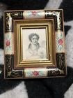 ANTIQUE HAND PAINTED MULTI COLOR PICTURE FRAME WITH OLD PRINT