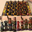 Vintage Chess Set Mayan Native American Spanish Conquistadors Enamel Terracotta
