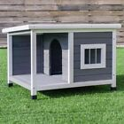 Wooden Pet House Dog Cat Puppy Room Bed Platform Bed Shelter Indoor Outdoor