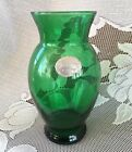 Vintage Forest Green Anchor Hocking Depression Glass Vase Flared Center w/ Label