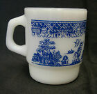 Blue Willow Cup Mug Anchor Hocking Fire King Milk White Glass USA Vintage