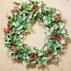 Vintage Plastic Holiday Wreath W Holly  Berry Decoration 16 Diamater Christmas