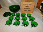 ANCHOR HOCKING 14 PIECE FOREST GREEN PUNCH BOWL SET~BOWL-BASE~12 CUPS~ Box