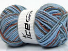 Lot of 4 x 100gr Skeins ICE SOFT TOUCH BULKY PRINT Yarn Blue Brown Grey