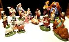 STUNNING Vintage ATLANTIC MOLD 16 Piece Nativity Set Figurines EXCELLENT