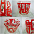 VTG 60s MID Century Modern Atomic Starburst Red Geometric Glass Ice Bucket Bowl