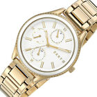 New $155 DKNY Woodhaven Ladies Multifunction Watch Gold Band White Ceramic Dial