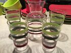 Mid Century Vintage Retro Libby Striped Pitcher and 4 Glasses - Nice