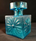 Dartington Square Glass Vase candle holder Kingfisher Blue Frank Thrower FT60