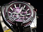 New Invicta 50mm Purple Coffee Bolt Mulberry Beveled Chrono Hi Polished SS Watch