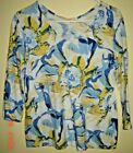 CHICOS 3 4 Sleeve White Blue Yellow Abstract Print V Neck Cotton Blend Top 1 S