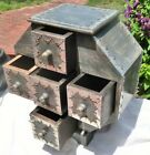 Vintage Handmade Wood/Metal Spice Storage/Jewelry 8 Sided Chest 5 Drawers India