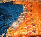 SILK BLEND Antique Vintage Sari Saree Fabric Material 4yd 6 Woven Blue #ABJTM
