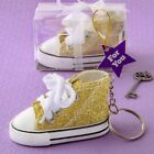 125 Gold Sparkle Mini Sneaker Keychains Baby Shower Birthday Party Favors