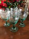 4 LIbbey Rock Sharpe Orchard Fruit Green Glass Water Ice Tea Goblets 16 oz