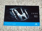 2006 Honda Civic Coupe Owner Owner's Manual User Guide DX LX EX Si 1.8L 2.0L