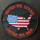 United We Stand United We Ride American Flag Embroidered Biker Patch