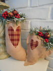 Primitive Ornies Bowlfillers Christmas STOCKING  plus Matching heart! Can hang !