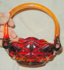 VINTAGE INDIANA GLASS AMBERINA BASKET, GEOMETRIC, DIAMOND PATTERN