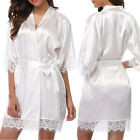 Silk Satin Robe Solid Kimono Wedding Dressing Gown Bridesmaid Bride Sleepwear LM