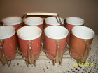 1950's Set/8 Raffia Ware Raffiaware Tumblers in Original Carrier