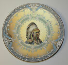 Nippon Porcelain Plate Moriage Indian Native American Plaque Chief Sitting Bull