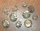 10 beautiful antique matching clear glass buttons