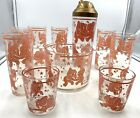 Pink Elephant Barware Hazel Atlas 10 pieces Shaker ice bucket 8 glasses MCM