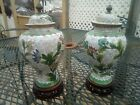 Antique Pair Of Two Marked China Cloisonne Urns On Stands