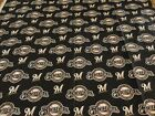 Cotton Fabric Sports  1 4 Yrd MLB Milwaukee Brewers Logo 59 inches wide