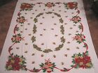 Vintage Christmas Tablecloth Ribbon Swags Holly Shiny Brite Ornaments 1960s