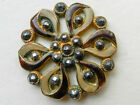 Beautiful Antique Open Worked Flower Shaped Brass Button with Enamel