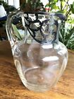 Large Alvin Engraved Sterling Silver Overlay American Blown Ribbed Glass Pitcher