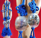 Antique Chinese Reverse Hand Painted Glass Bead Blue Silk Rope Tassel Trim Pair
