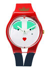 Swatch GR165 Wonderqueen White Face Dial Blue Red Silicone Band Unisex Watch New