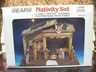 NATIVITY SET 9 FINELY CRAFTED FIGURINES  WOOD STABLE SEARS MADE IN ITALY 97887