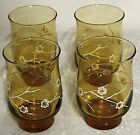 Set of Four (4) Anchor Hocking Juice Glasses Amber Color with White Flowers VGC