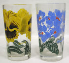 Vintage LOT Two Peanut Butter Glasses Tumblers Yellow Pansies African Violets