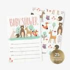25 Baby Shower Invitations with Envelopes Cute Animals Woodland Baby Boy or Girl