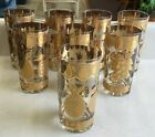 8 Vintage Mid Century Culver Highball Glasses Gold Fruit Pineapple Pear Grapes