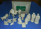 14 VINTAGE 1950S HARD PLASTIC IVORY COLOR NATIVITY FIGURES RARE SET IN BOX
