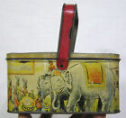Vintage Handled Lunch Box Tin w Circus Animals and Band Around Sides 1940s 50s