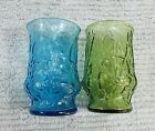 Two Old 1970's Anchor Hocking Lido Milano Blue Green 5 oz Juice Glasses FREE S/H