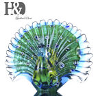 Glass Blown Peacock Animal Art Figurine Glass Sculpture Office Table Ornament